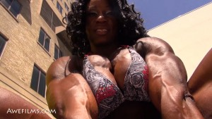 Margie Martin, new FBB Champion, looking absolutely HUGE and POWERFUL - get this HOT video today at hdphysiques.tv's Awefilms Studio!