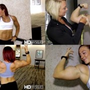 "Katie Lee getting measured by Christine Moyer after flexing and posing, getting all pumped up.  Could it be?  17"" guns? Get this HOT CLIP today at the Katie Lee PEAK POWER Clips Studio at HDPhysiques.tv!!!"