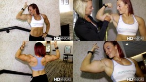 """Katie Lee getting measured by Christine Moyer after flexing and posing, getting all pumped up. Could it be? 17"""" guns? Get this HOT CLIP today at the Katie Lee PEAK POWER Clips Studio at HDPhysiques.tv!!!"""