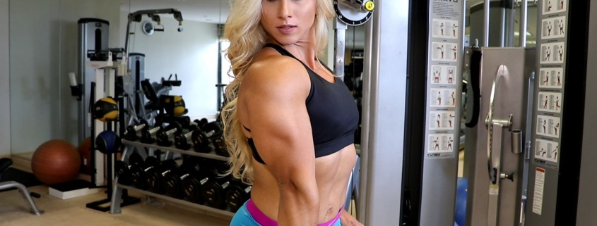 NEW Shannon Courtney video, working her massive arms and chest in Newport Beach - get it today!