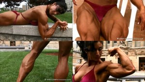 Powerful, HUGE FBB Amber DeFrancesco in a new compilation video in the HDPhysiques Studio at the Clips Store