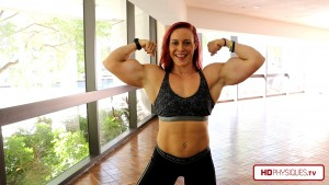 """BOOM - stretching the tape to over 17"""".  Get these measurements and more from the Katie Lee's Peak Power Studio at HDPhysiques.tv, the FemaleMuscleStore!"""