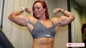 Get the latest Katie video showcasing her gigantic biceps at the Katie Lee Peak Power Studio at HDPhysiques.TV - click here!
