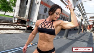 She's got the upper body, too, folks!  Just awesome muscle everywhere - get this hot video in 4K today!