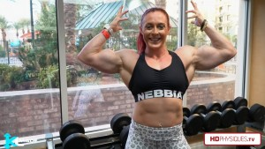 """Katie and her 18"""" arms, as big as ever!  Get her new video today at the Katie Lee's Peak Power Studio at HDPhysiques.TV!"""