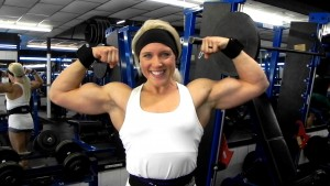 Amazingly shaped biceps... and they are getting bigger and bigger. See Hailey Delf's videos... both offseason and contest shape, plus an interview, now in her new studio at HDPhysiques.TV, the FemaleMuscleStore!