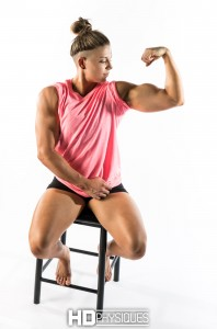 BAM!   Look at dem guns!  Join HDPhysiques now for the fabulous Julia Hunter!