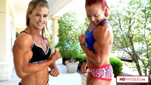 """Look at those massive biceps - get the latest """"Biceps Challenge"""" between Katie & Alli - now available in 4K at HDPhysiques.TV!"""
