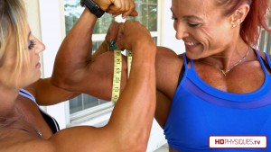 """Look at those massive biceps and those tape-busting measurements! Get the latest """"Biceps Challenge"""" between Katie & Alli - now available in 4K at HDPhysiques.TV!"""